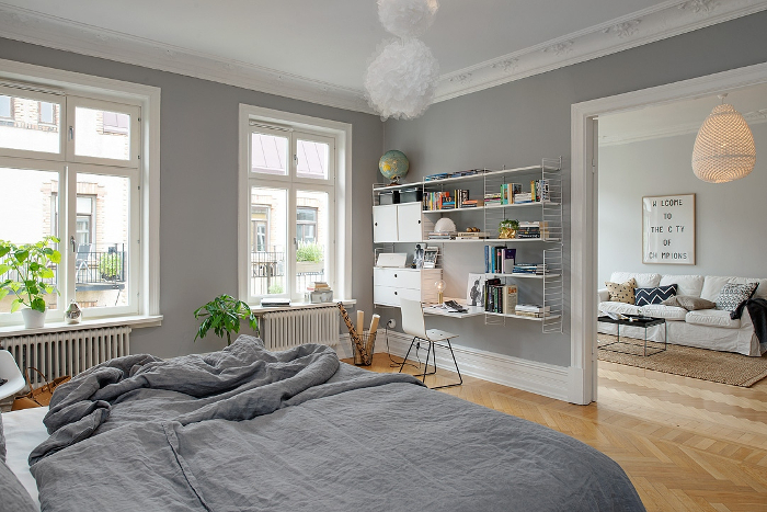 Pretty White and Grey Apartment in Sweden_1