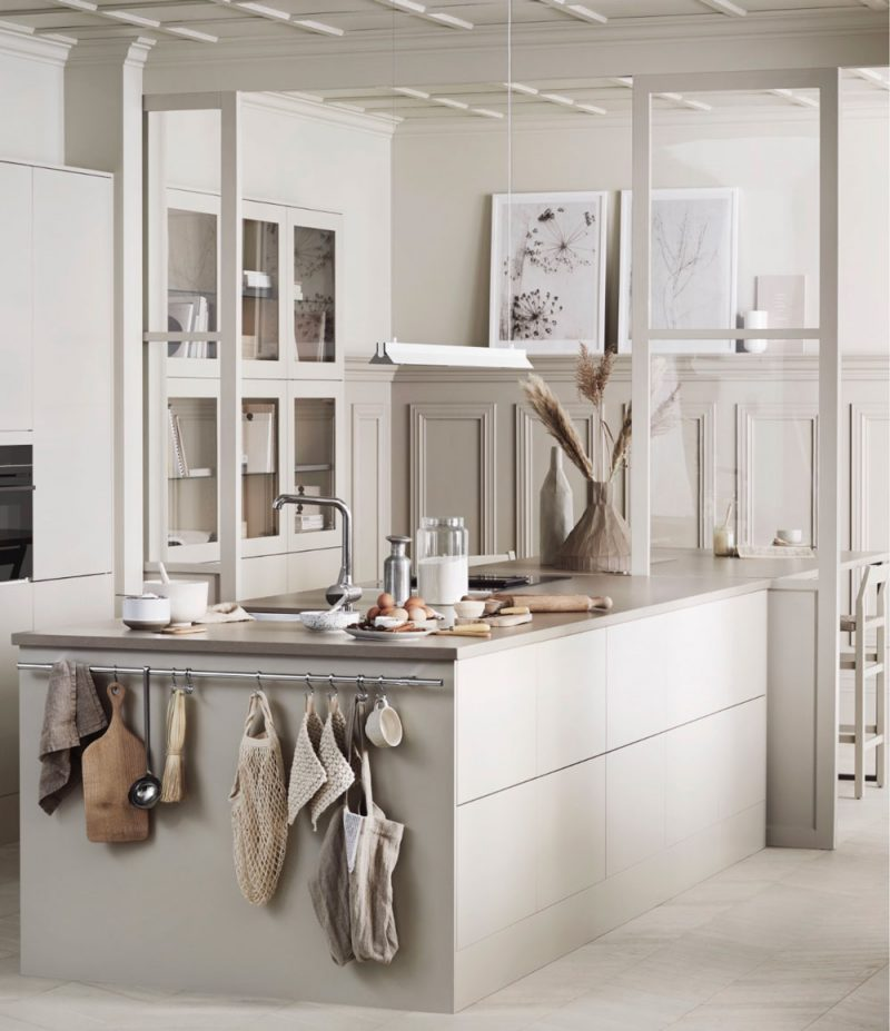 Lovely Monochromatic European Kitchen Design With Gray: The Most Beautiful Beige Kitchen
