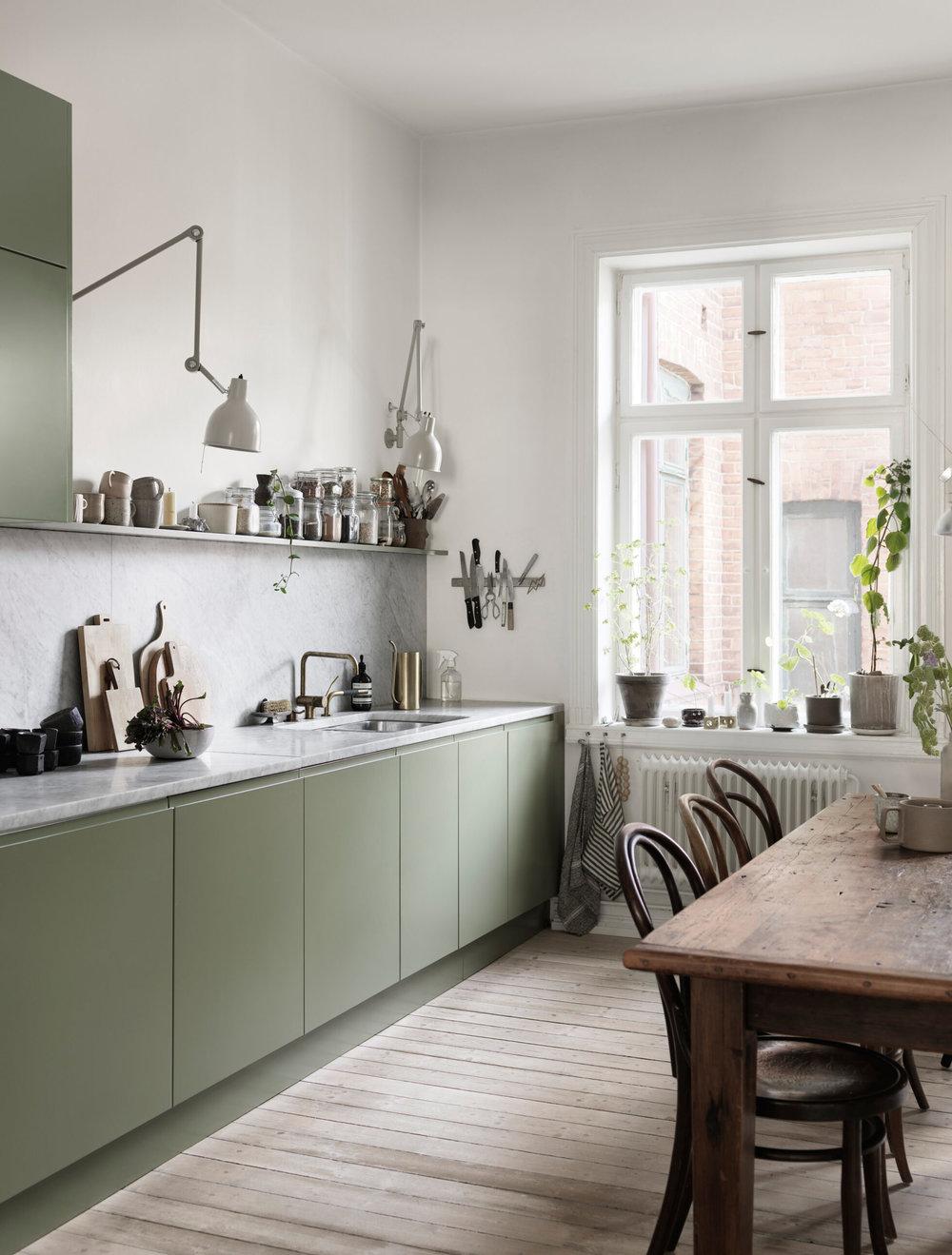 9 Inspiring Green Kitchen Designs That Bring Nature In   Nordic ...